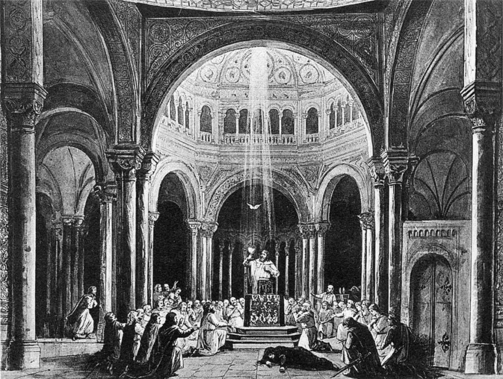 Stage set for the third act of Wagner's Parsifal by Paul von Joukowsky (Bayreuth 1882).